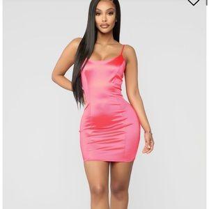 💖Silk neon pink mini dress